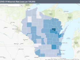 November 23rd COVID-19 Wisconsin Cases Per 100,000 Residents Map