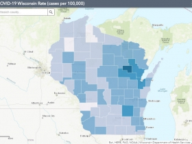 November 25th COVID-19 Wisconsin Cases Per 100,000 Residents Map