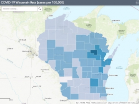 November 27th COVID-19 Wisconsin Cases Per 100,000 Residents Map