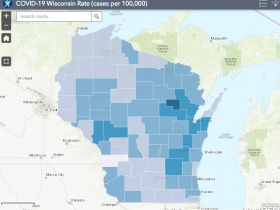 November 28th COVID-19 Wisconsin Cases Per 100,000 Residents Map