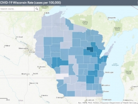 November 29th COVID-19 Wisconsin Cases Per 100,000 Residents Map