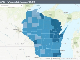 October 4th COVID-19 Wisconsin Cases Per 100,000 Residents Map