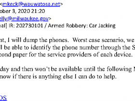 WPD SOG detective Martin Keck advises other officers in accessing cell phone data in an unrelated car jacking case
