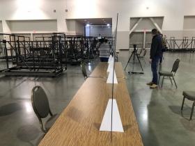 Plexiglass Divider Table Setup - Recount 2020