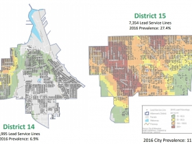 Lead Service Lines and Lead Poisoning Density in the 14th and 15th Aldermanic Districts