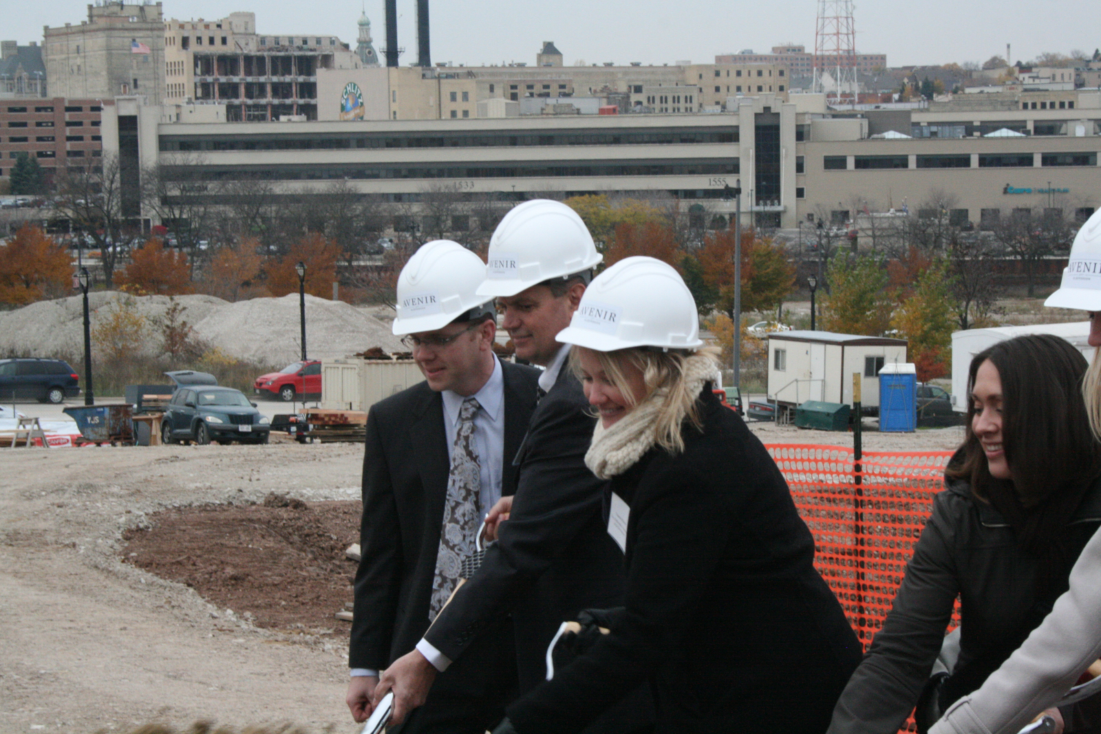 Vanessa Koster, of the Department of City Development, joins in the groundbreaking fun!