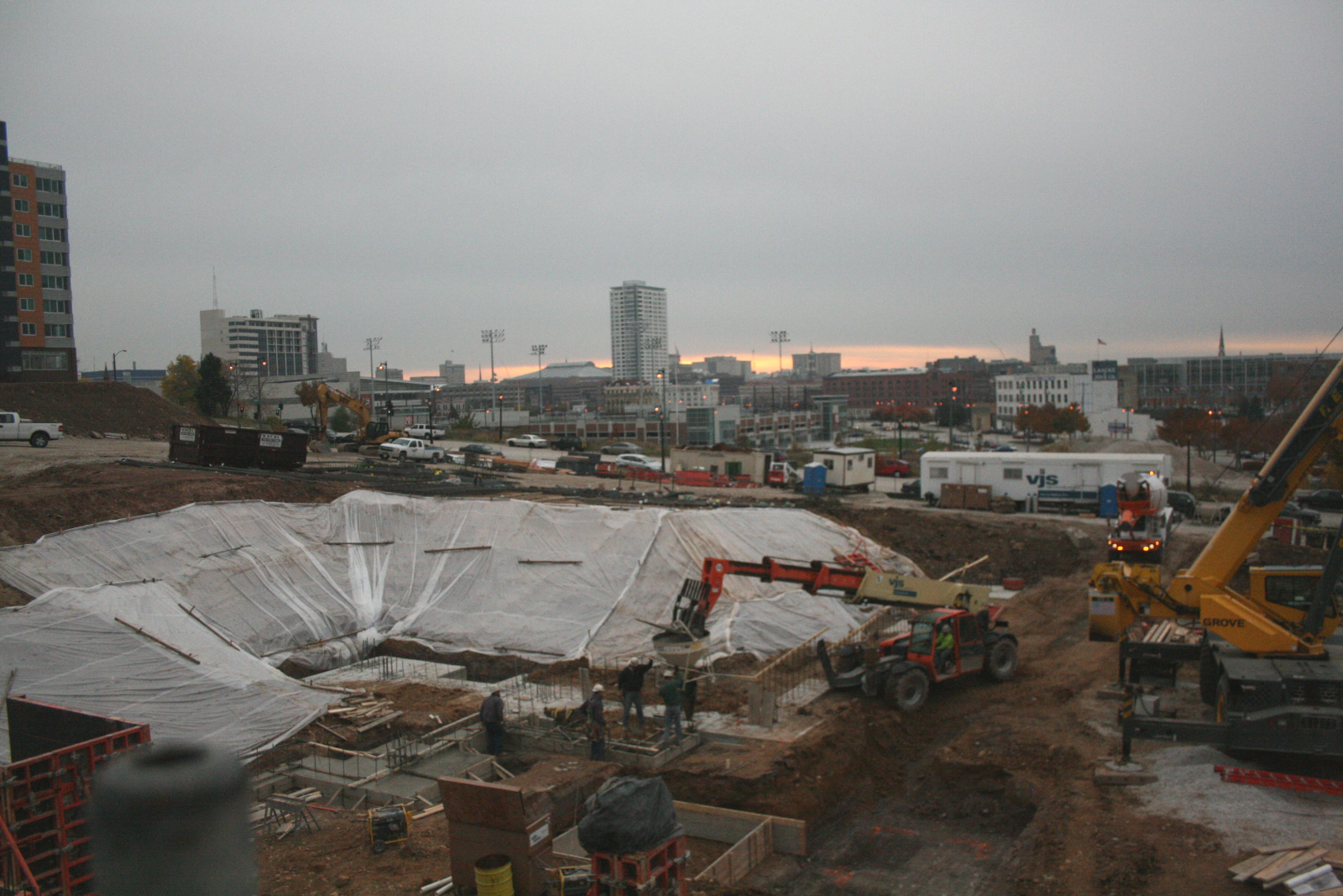 A busy construction site.