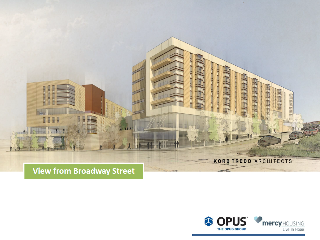 Park East Block 22 Redevelopment rendering view from Broadway.