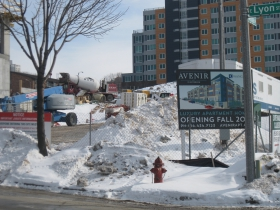 Convent Hill is seen behind the construction site.