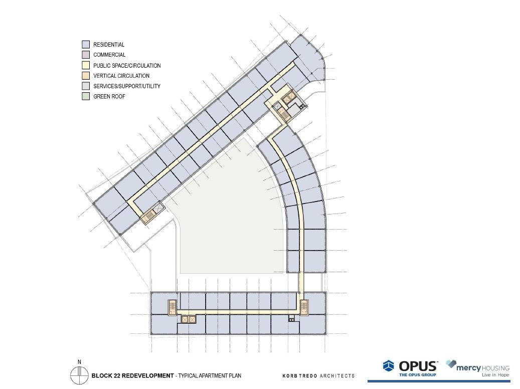Park East Block 22 Redevelopment typical apartment plan.