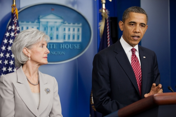 Health and Human Services Secretary Kathleen Sebelius and President Barack Obama.