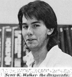 """Scott K. Walker """"the Desperado"""". Photo from the Delavan-Darian High School Yearbook."""
