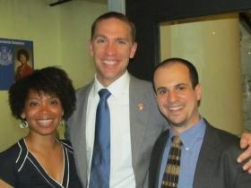 State Sens. Nikiya Harris [l] and Chris Larson [m], and Jonathan Brostoff [r].
