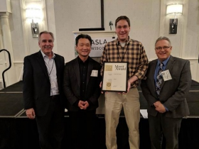 The Wisconsin Chapter of the American Society of Landscape Architects presented the Merit Award for design to (from left) GRAEF landscape practice area leader Joseph Pepitone, Rinka Architects partner Matt Rinka, GRAEF project landsape architect Erik Schmitt and Oak Creek Mayor Dan Bukiewicz.