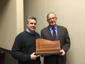 Tom Callen (right), Milwaukee NARI Foundation president, and Bingo Emmons, Spirit of Volunteerism Award recipient.