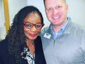Gwen Moore and Brett Blomme