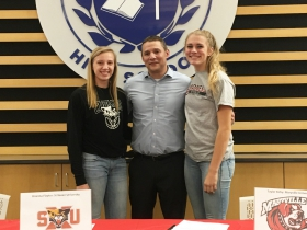 Brianna Flayter, Coach Brian Krysiak and Taylor Kirby