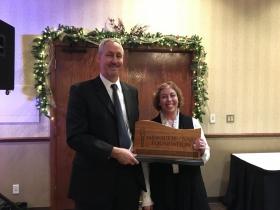 Chris Klug (left), Milwaukee NARI Foundation senior vice president, and Ronna Bromberg Pachefsky, Spirit of Volunteerism Award recipient.
