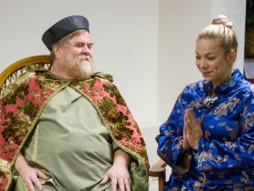 Emperor (Paul Pfannenstiel) and servant (Michelle White)