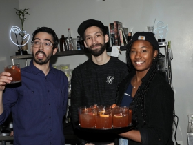 Bittercube Manager, Brandon Reyes with Bartenders, Nick Gomez and Ashley Pappalardo.