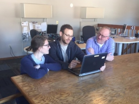 Jane Cowan, Market Research Coordinator, Adam Mehr, Certificate Program Coordinator, and Eric Rehm, Solar Finance Manager.
