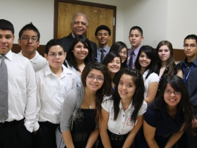 Departing superintendent Gregory Thornton and students.
