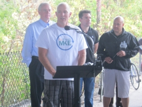 Jeff Polenske, Department of Public Works, speaking about the trail.