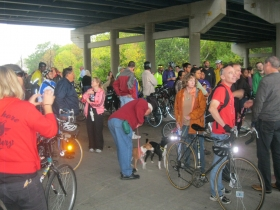 Bicyclists prepare to ride the trail.