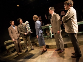 Trevor Rees (Francis Crick), Nick Narcisi (James Watson), Cassandra Bissell* (Rosalind Franklin) Neil Brookshire* (Maurice Wilkins), & Josh Krause (Ray Gosling)