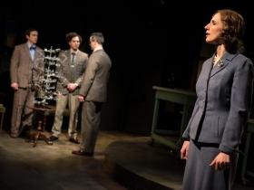 Trevor Rees (Francis Crick), Nick Narcisi (James Watson), & Neil Brookshire* (Maurice Wilkins) Cassandra Bissel* (Rosalind Franklin)
