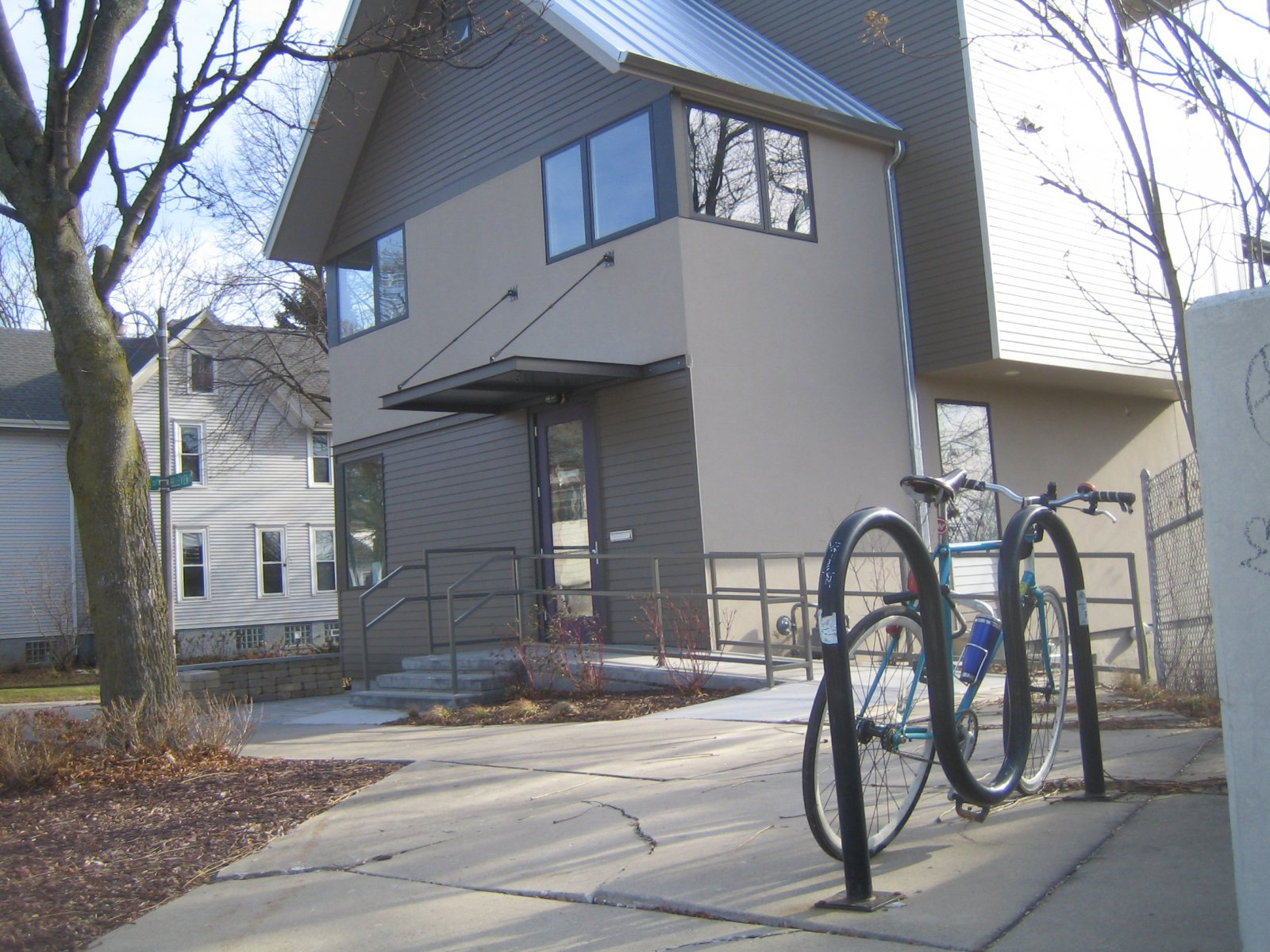 Bike rack in front of the BikePath Building.