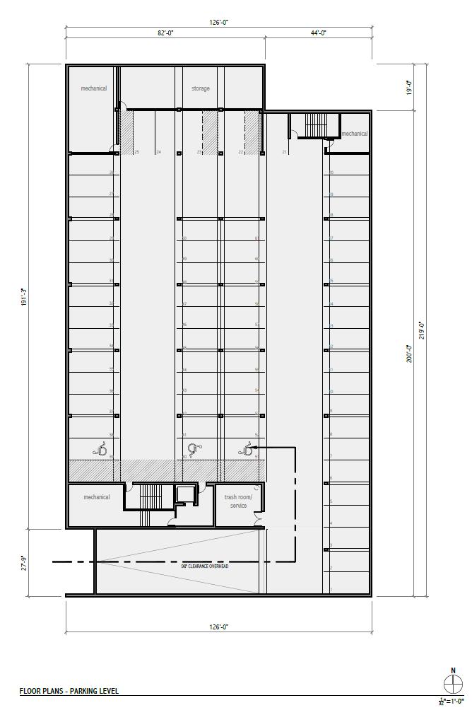 Rivercrest Phase II Parking Level Floor Plan.