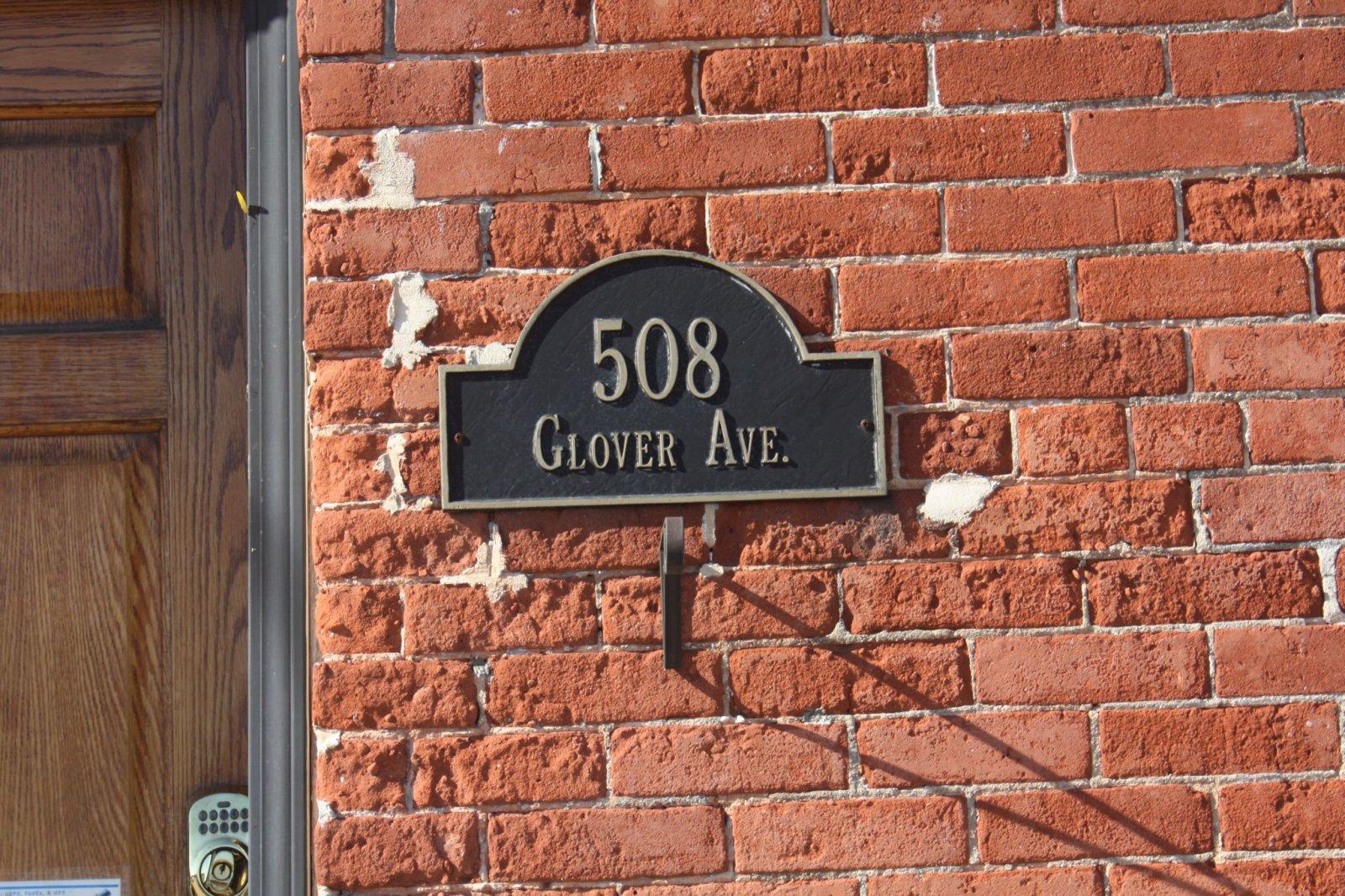 Glover Avenue address plate
