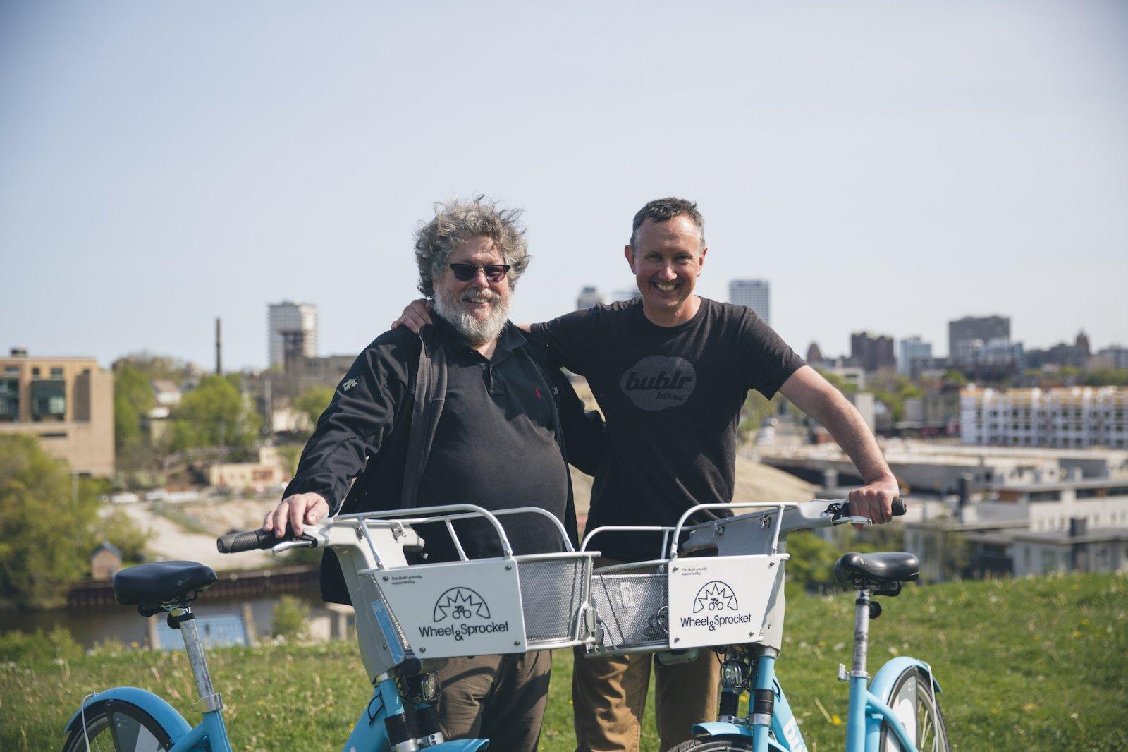 Chris Kegel, President of Wheel & Sprocket, and Kevin Hardman, Executive Director of Bublr Bikes