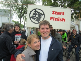 Allison Peterson and Jeramey Jannene at the RW24 Start / Finish Line.