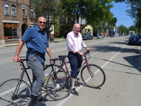 Alderman Nik Kovac and his Father Peter Kovac Riding Through Riverwest 24 Festivities