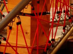 Bungee cord railing.