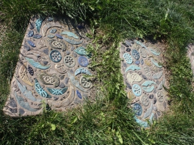 Decorative steps at Kadish Park