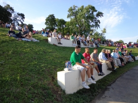 The seating along the hill is popular with the visitors.