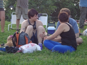 Hanging out on the lawn at Kadish Park.
