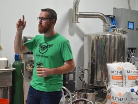 Gathering Place Brewing Co. Founder and President Joe Yeado during a brewery tour.