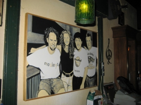 A painting of the Mosleys by band member Mike Fredrickson (left).