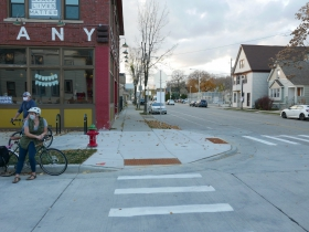 Curb extension at E. Center St. and N. Fratney St.