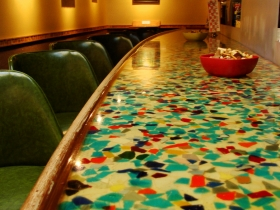Recycled sea glass bar top. Photo by Nastassia Putz.