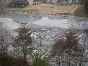 River thawing at Greenway Gateway. Photo by Michael Horne.