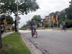 Chris Socha taking the B-Cycle for a lap.
