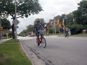 Chris Socha taking the B-Cycle for a spin.