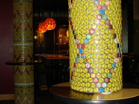 Vintage soda bottle cap pillars. Photo by Nastassia Putz.