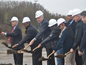 Mayor Tom Barrett, Reed Hall, Wyman Winston, Ald. Willie Wade, Michael Weiss, Common Council President Michael Murphy.