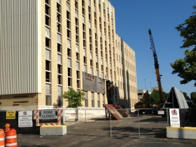 Demolition has started on the Historic Schlitz Brew House. Photo by Dave Reid.